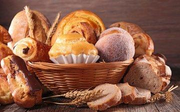 колосья, пшеница, хлеб, корзина, выпечка, булочки, сдоба