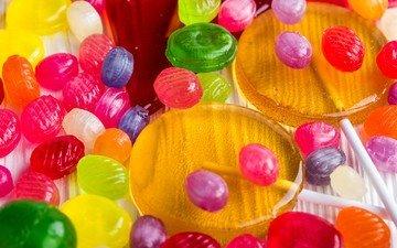разноцветные, конфеты, сладкое, леденцы, карамель
