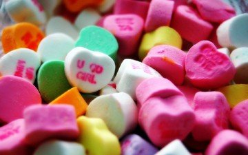 разноцветные, конфеты, сердечки, сладкое, драже