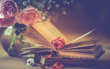 цветы, стиль, ретро, розы, лепестки, книги, бутон, букет, книга, композиция