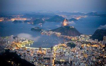 lights, the evening, sea, panorama, the city, coast, brazil, rio de janeiro