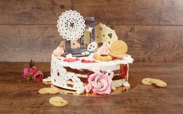 роза, шоколад, сладкое, украшение, печенье, торт, крем
