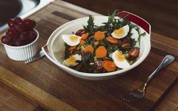 зелень, овощи, морковь, яйцо, салат