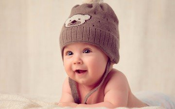 взгляд, ребенок, шапка, младенец