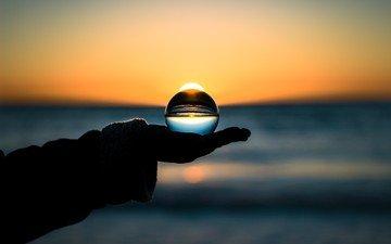 the evening, hand, sunset, horizon, ball, glass, palm, on, crystal, crystal ball