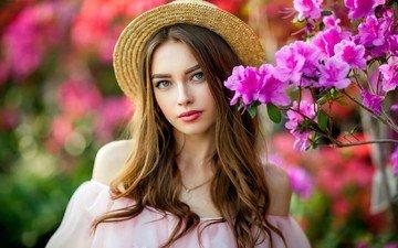 девушка, взгляд, волосы, лицо, розовые цветы, шляпа, шатенка, богдана, ольга бойко