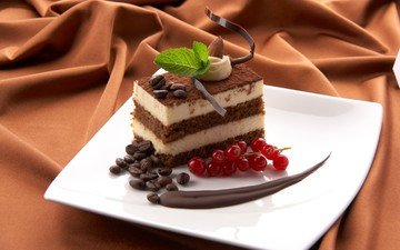 мята, шоколад, сладкое, кофейные зерна, торт, десерт, смородина, пирожное