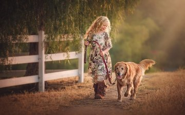 dog, children, girl, hair, face, golden retriever, edie layland, country girl with dog