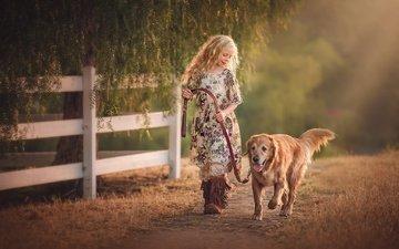 собака, дети, девочка, волосы, лицо, золотистый ретривер, edie layland, country girl with dog
