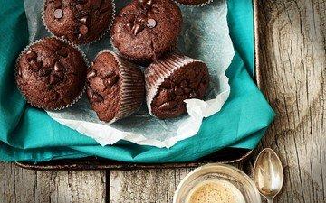 шоколад, сладкое, выпечка, десерт, кексы, маффины