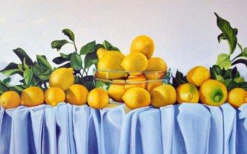 листья, фрукты, стол, ткань, лимоны, цитрусы