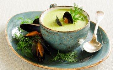 укроп, ложка, морепродукты, мидии, суп
