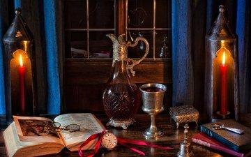 свечи, очки, часы, вино, книга, натюрморт, кубок, графин, колокольчик