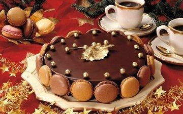 кофе, шоколад, печенье, торт, макаруны
