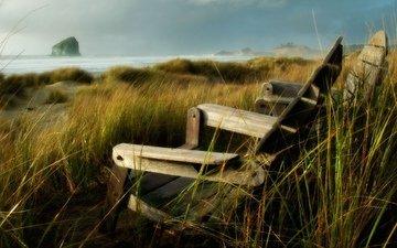 трава, берег, море, скала, кресло, осока
