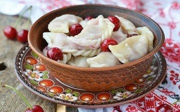 вышивка, ягоды, вишня, полотенце, тарелка, начинка, тесто, вареники