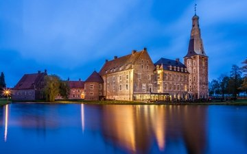 the evening, castle, pond, germany, raesfeld