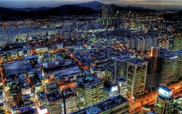 lights, the view from the top, the city, skyscrapers, seoul, south korea