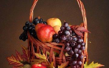 листья, виноград, фрукты, яблоки, натюрморт, груши, груши.