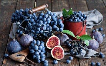 виноград, фрукты, ягоды, натюрморт, инжир, anna verdina, черноплодная рябина