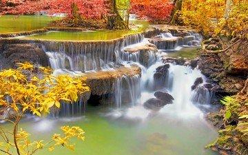 водопад, осень, таиланд, тропики