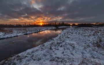 восход, солнце, снег, природа, зима, речка