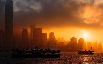 закат, корабли, город