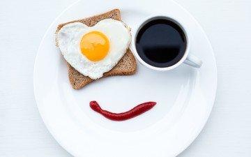 кофе, сердце, кетчуп, хлеб, завтрак, тарелка, яичница
