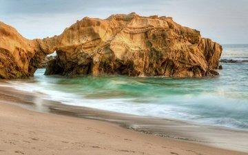 скалы, волны, пейзаж, море, пляж