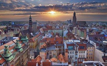 закат, панорама, город, польша, вроцлав