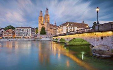 мост, город, швейцария, цюрих
