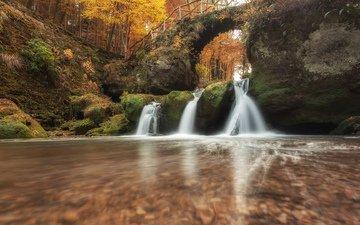 река, природа, лес, мост, водопад