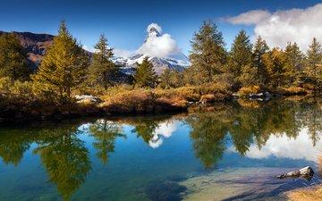 озеро, горы, природа, лес, отражение, пейзаж, осень