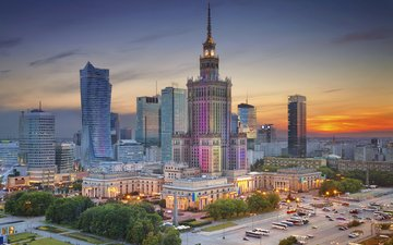 the evening, panorama, the city, home, building, center, poland, warsaw, the palace of culture and science, warsaw.poland