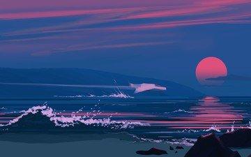 закат, вектор, море, волна, графика