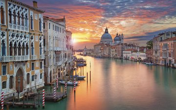 закат, город, венеция, канал, италия