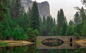 река, горы, природа, лес, пейзаж, мост