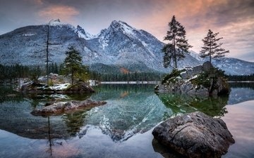 lake, mountains, nature, winter, landscape, alps, accordion, hintersee
