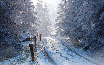 дорога, арт, деревья, снег, природа, лес, зима, картина, пейзаж, следы, живопись, дорога. следы