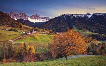 деревья, горы, снег, природа, пейзаж, осень, дома, италия, альпы