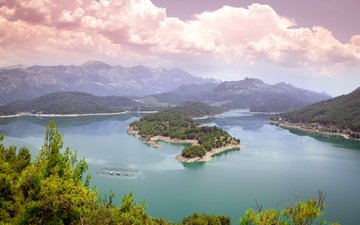 lake, mountains, nature, forest, landscape, island, the fjord
