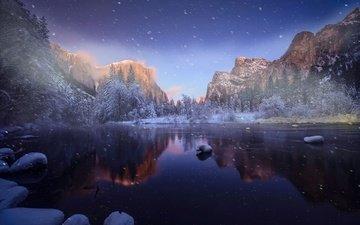 река, горы, природа, лес, зима, пейзаж