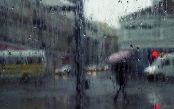 город, дождь, стекло
