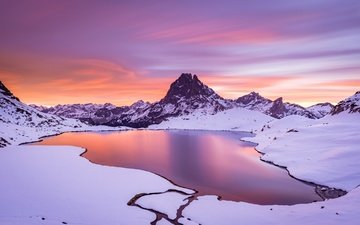 озеро, горы, природа, закат, зима