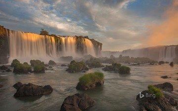 river, nature, waterfall, brazil, bing, paraná, iguazu national park