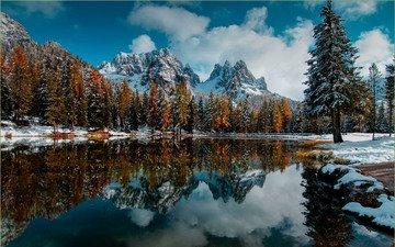 озеро, горы, природа, лес, зима, пейзаж, осень