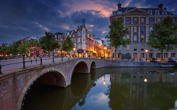 мост, город, канал, нидерланды, амстердам