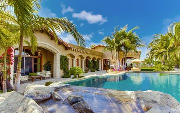 palm trees, home, house, pool, villa