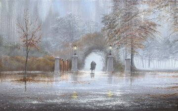 picture, park, autumn, rain, two, jeff rowland