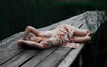 девушка, платье, доски, ножки, отдых, yarik urban